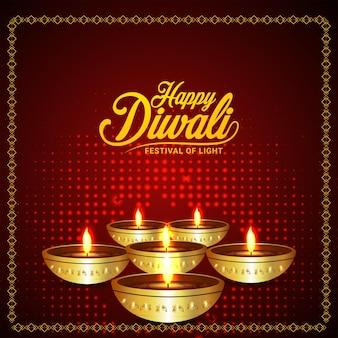 Indian festival of happy diwali celebration greeting card