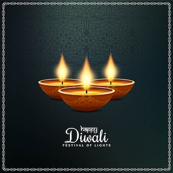 Indian festival happy diwali  with diya
