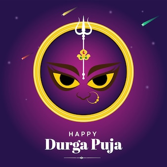 Indian festival happy durga puja flat banner design
