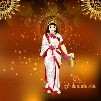 Indian festival happy durga puja with vector illustration of goddess durga
