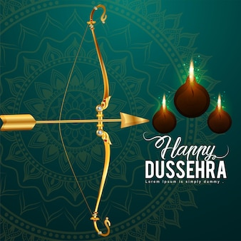 Indian festival of happy dussehra celebration background with gold bow and arrow of lord rama