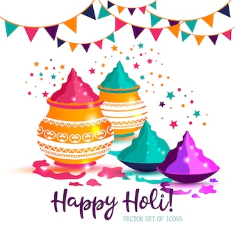 Indian festival of happy holi colorful vector illustration.