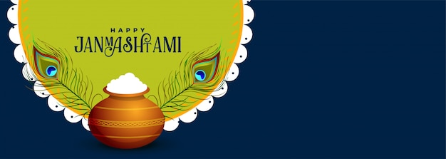 Indian festival of happy janmashtami greeting banner