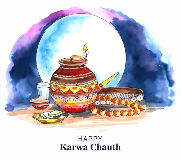 Fondo felice di celebrazione di karwa chauth di festival indiano