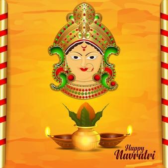 Индийский фестиваль счастливого празднования наваратри фон с векторной иллюстрацией дурга маа