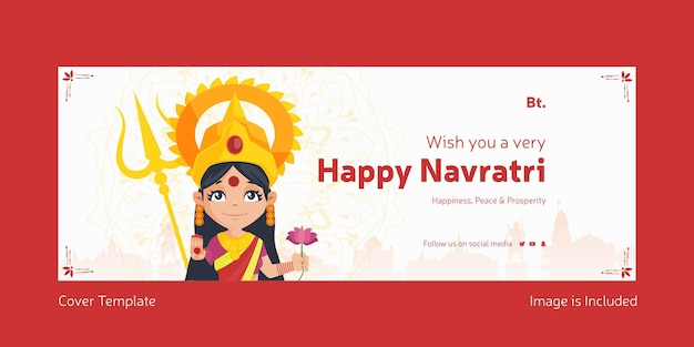 Indian festival happy navratri cover page design template