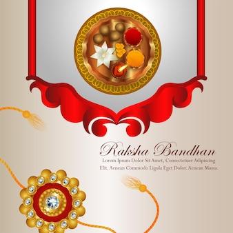 Indian festival of happy raksha bandhan celebration background with pooja thali