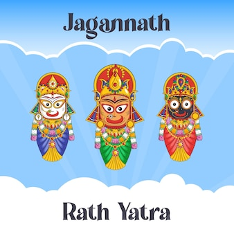 インドの祭り jagannath rath yatra バナー デザイン テンプレート