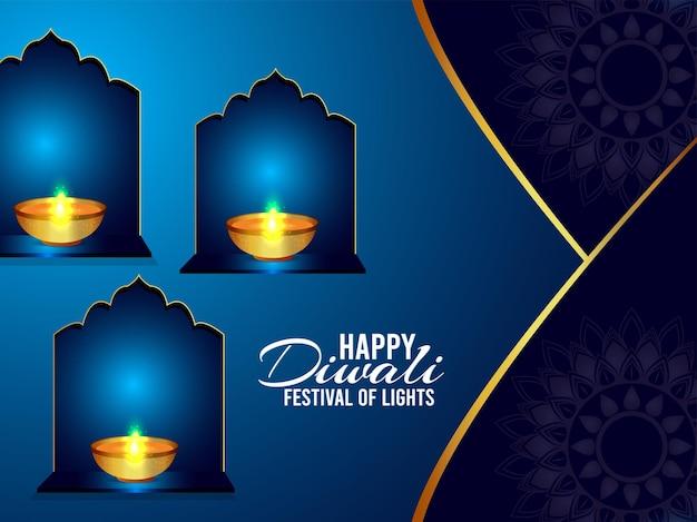 Indian festival of light happy diwali celebration greeting card