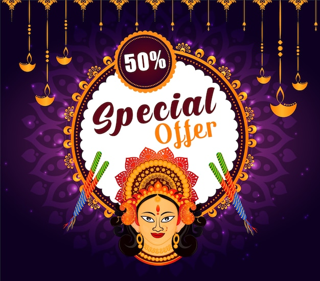 Indian festival navratri sale offer background.