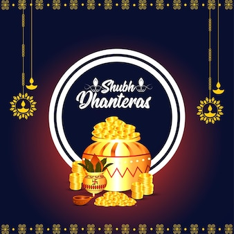 Indian festival shubh dhanteras background with gold coin pot