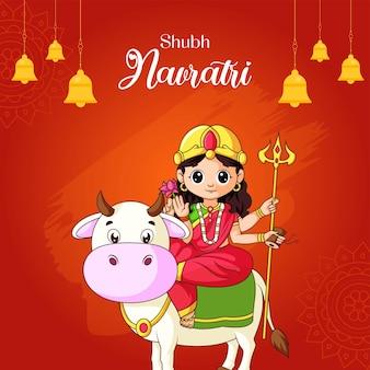 Indian festival shubh navratri banner design template