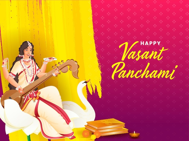 Indian festival vasant panchmi concept with goddess saraswati