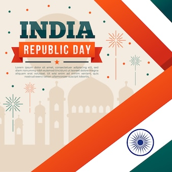 インドの国旗とタージマハル建国記念日