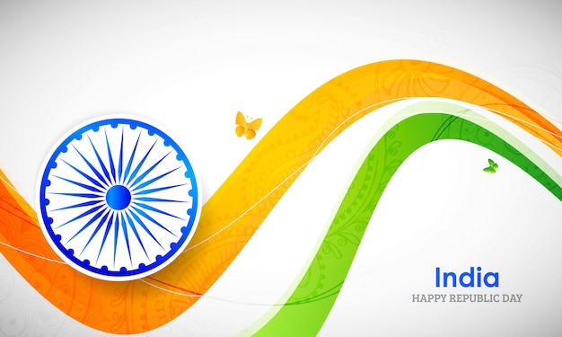 Indian flag color creative wave for india republic day