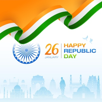 Indian flag concept republic day indian monuments background