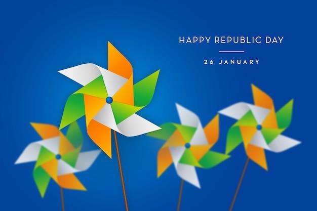 インドの旗のコンセプト共和国記念日トリオカラー風車