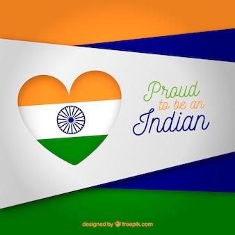 Bandiera indiana cuore sfondo