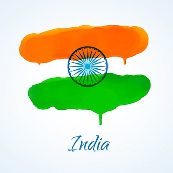 Indian flag made with watercolor