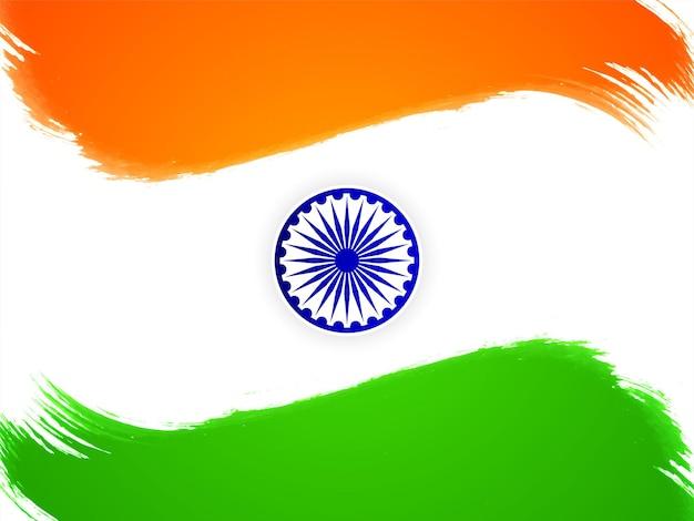 Tema della bandiera indiana vettore di sfondo del tratto di pennello del giorno dell'indipendenza