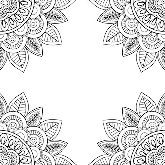 Indian floral frame for coloring pages book