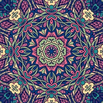インドの花の幾何学的な落書きメダリオンパターン。エスニック曼荼羅飾り。