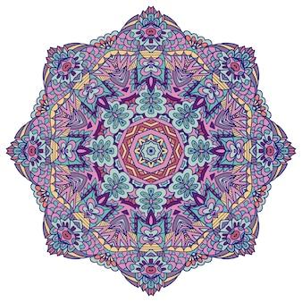 インドの花のペイズリー飾り。エスニックマンダラフラワープリント。メダリオン。