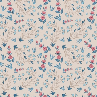 Indian floral. seamless pattern. champagne, pink, blue.