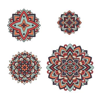 Индийский цветочный набор. этнические мандала орнамент. стиль татуировки хной вектор. может использоваться для текстиля, поздравительных открыток, книжек-раскрасок, телефонных чехлов