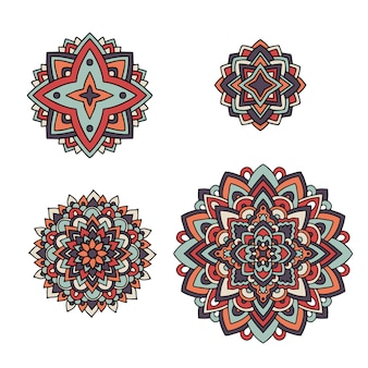 Indian floral set. ethnic mandala ornament. vector henna tattoo style. can be used for textile, greeting card, coloring book, phone case print