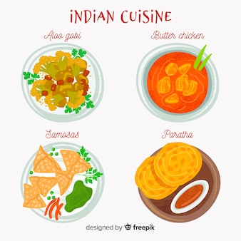 Indian food dishes set