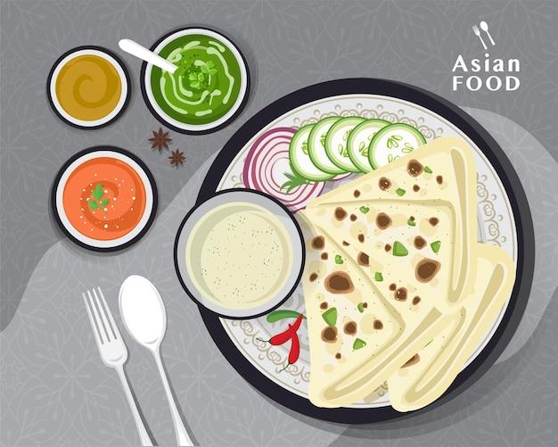 インド料理クルチャ、クルチャインドのパン、ベクトル図