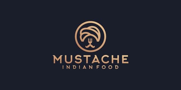 콧수염과 포크 컨셉 템플릿 디자인이 있는 인도 음식 로고