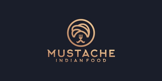 Indian food logo with mustache and fork concept template design