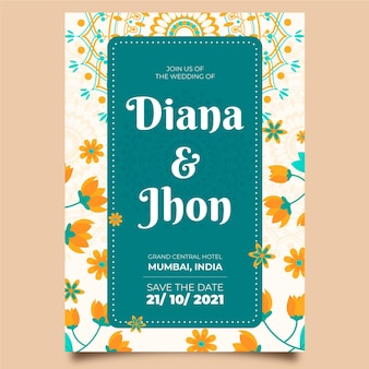 Indian frame wedding invitation template