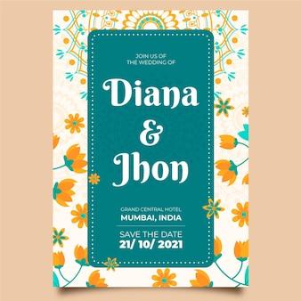 インドのフレームの結婚式の招待状のテンプレート