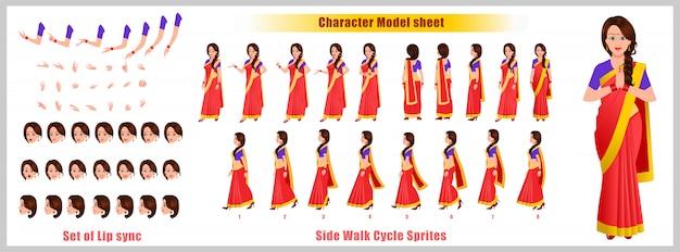 Индийская девушка дизайн персонажей лист с анимацией цикла ходьбы. девушка дизайн персонажей. вид спереди, сбоку, сзади и анимация позы. набор символов с различными взглядами и синхронизацией губ