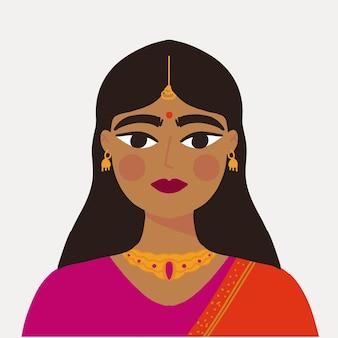 伝統的な服を着たインドの女の子