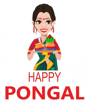 Indian girl with two pots, pongal greeting card,