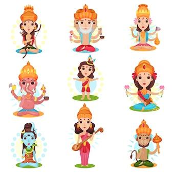 Indian god and goddess set, rama, brahma, kali, ganesha, lakshmi, shiva, saraswati, hanuman  illustrations on a white background