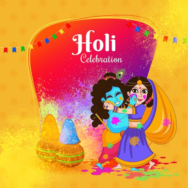 Indian god shri krishna and radha rani celebrating holi festival