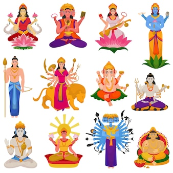 Indian god vector hindu godhead of goddess character and hinduism godlike idol ganesha in india illustration set of asian godly religion