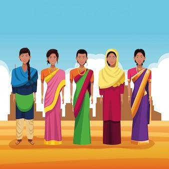 Indian group of india cartoon