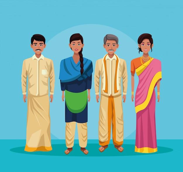 Индийская группа из индии мультфильма Бесплатные векторы