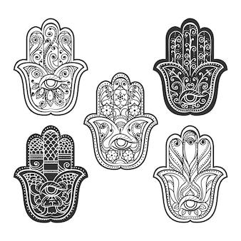 Mano di hamsa indiano con occhio. ornamento etnico spirituale, illustrazione vettoriale