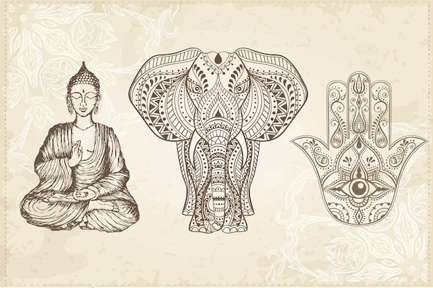 Индийская рисованная хамса с полностью видимым глазом