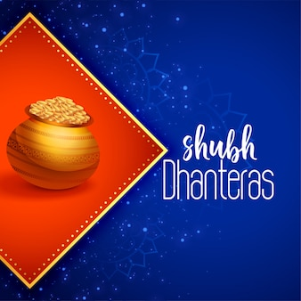 Indian happy dhanteras festival greeting illustration