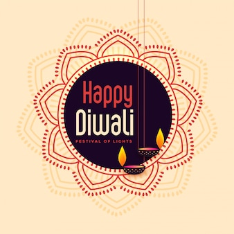 Indian happy diwali festival card illustration