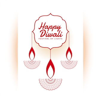 Indian happy diwali festival white illustration