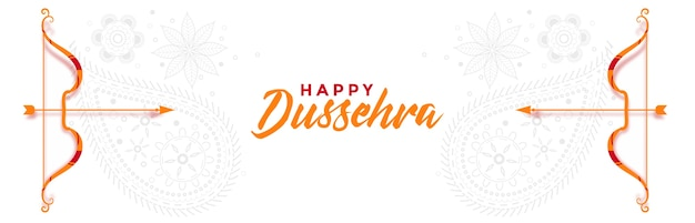 Banner di saluto indiano dussehra felice con arco e freccia vettoriale